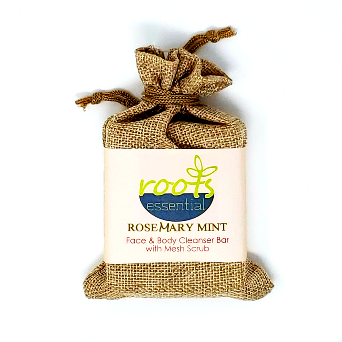 HomeShopHub Red Baobab Bodycare Rosemary FACE & BODY CLEANSER BAR  (VEGAN) + Mesh Scrub