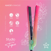 "Load image into Gallery viewer, HomeShopHub Sky Blue Thrace Haircare Almost Famous 1.25"" Tropico Studio Flat Iron with Waterprint Design"