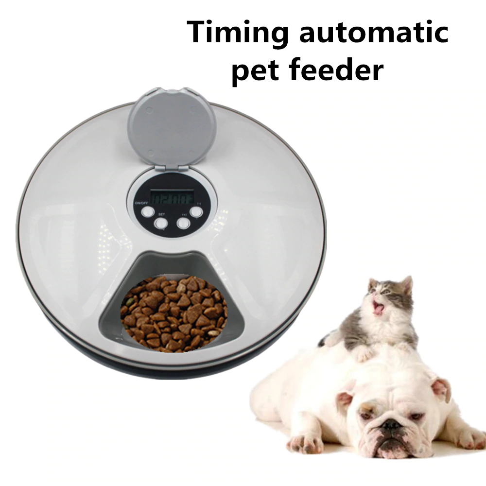 Pet Automatic Round Timing Feeder with 6 Grids Voice Recorder