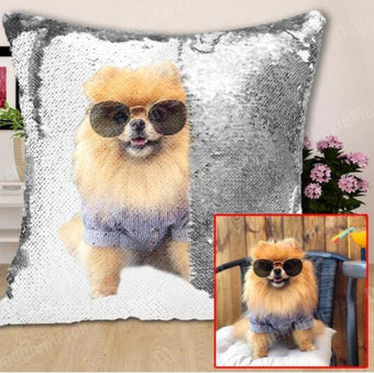 Customised Decorative Sequin Pillow Cushion Cover Custom Photo With Name Or Text-VLT10