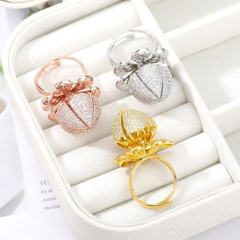 Beautiful Flower Bud Gold Plating Ring