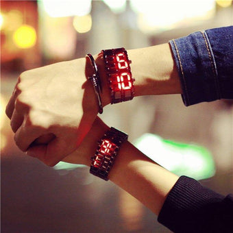 Creative & Fashionable Casual Couple Wristwatches Style LED Light Bracelet Watch