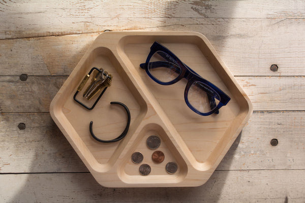 Solid Maple Hex Tray Birdseye
