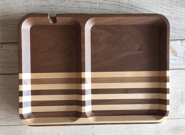 Rectangle Valet - Walnut Multi-Stripe