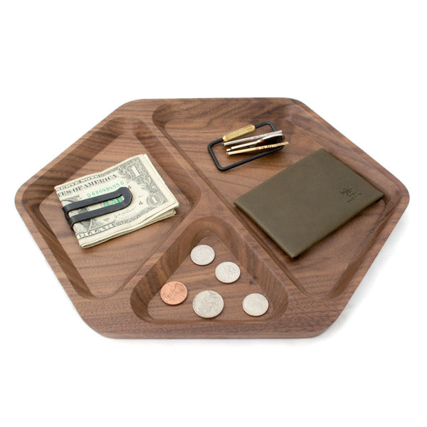Solid Walnut Hex Tray Context
