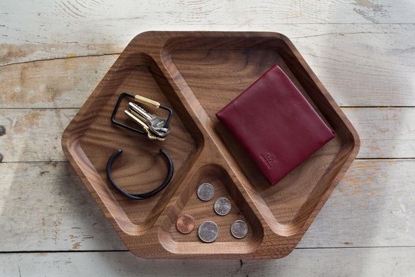 Solid Walnut Hex Tray Desktop