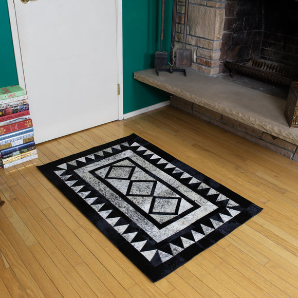 Diamond Black - Handmade Animal Hide Area Rug - 3' x 4' - The Loom