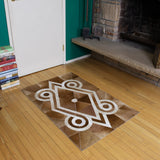 3x4 brown and white animal hide leather rug