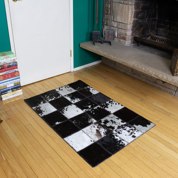 Patchwork Black - Handmade Animal Hide Area Rug - 3' x 4' - The Loom