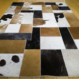 3x4 brown, white and  black animal hide leather rug