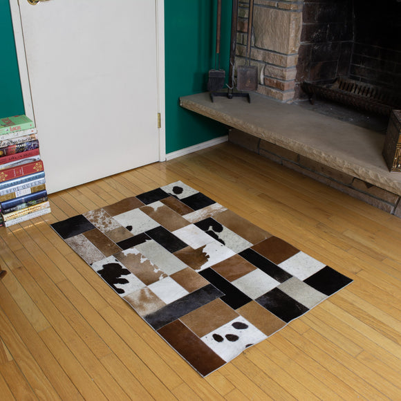 Patchwork - Handmade Animal Hide Area Rug - 3' x 4' - The Loom