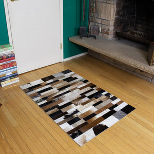 Patchwork Striped - Handmade Animal Hide Area Rug - 3' x 4' - The Loom