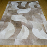 4x6 brown and white animal hide leather rug