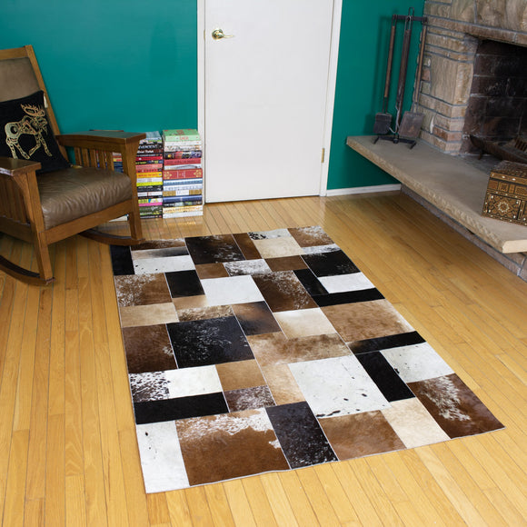 Patchwork - Handmade Animal Hide Area Rug - 4' x 6' - The Loom