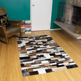 Patchwork Striped - Handmade Animal Hide Area Rug - 4' x 6' - The Loom