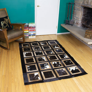 4x6 black and white animal hide leather rug