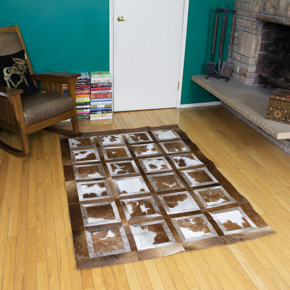 Portrait Brown - Handmade Animal Hide Area Rug - 4' x 6' - The Loom