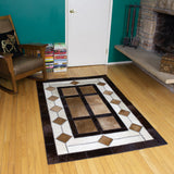 4x6 brown, white and black animal hide leather rug
