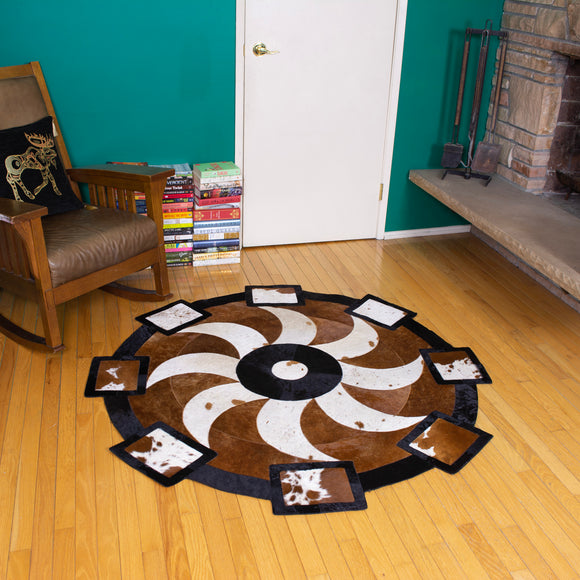 Propeller - Handmade Animal Hide Area Rug - 5' Round - The Loom