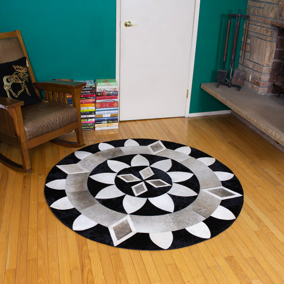 Diamond Sun - Handmade Animal Hide Area Rug - 5' Round - The Loom