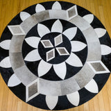 Diamond Sun - Handmade Animal Hide Area Rug - 5' Round
