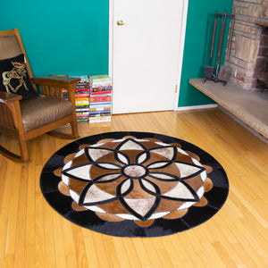 Eden - Handmade Animal Hide Area Rug - 5' Round - The Loom