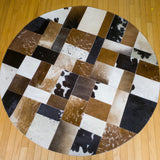 Patchwork - Handmade Animal Hide Area Rug - 5' Round - The Loom