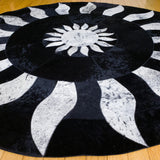 Midnight Sun - Handmade Animal Hide Area Rug - 5' Round - The Loom