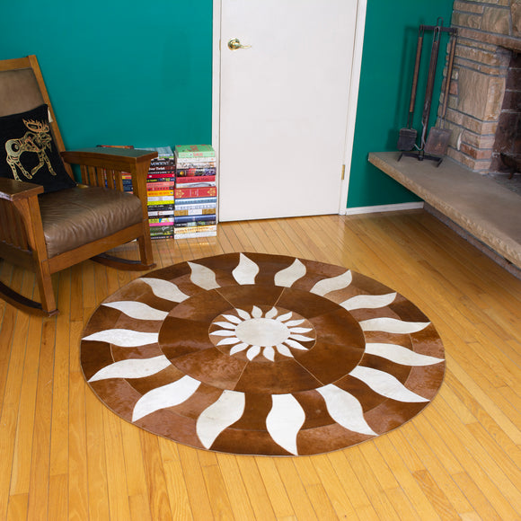 Sun - Handmade Animal Hide Area Rug - 5' Round