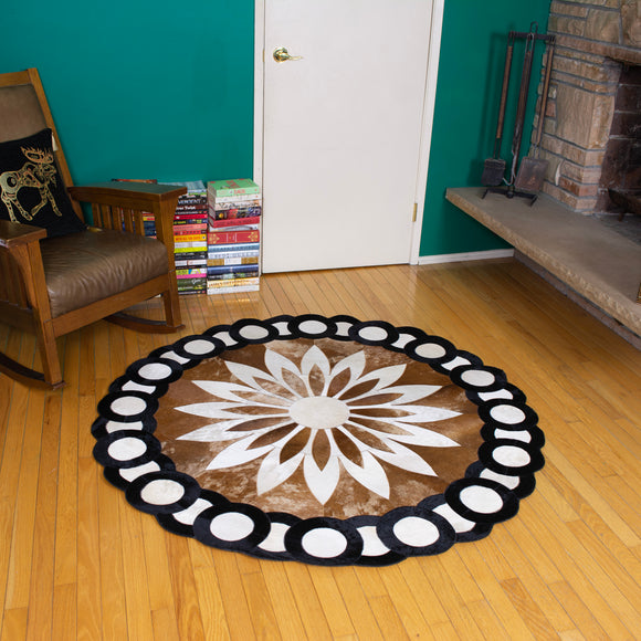 Sunflower - Handmade Animal Hide Area Rug - 5' Round - The Loom