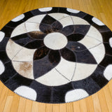 Forget-me-not Black - Handmade Animal Hide Area Rug - 5' Round