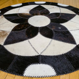 Forget-me-not Black - Handmade Animal Hide Area Rug - 5' Round - The Loom