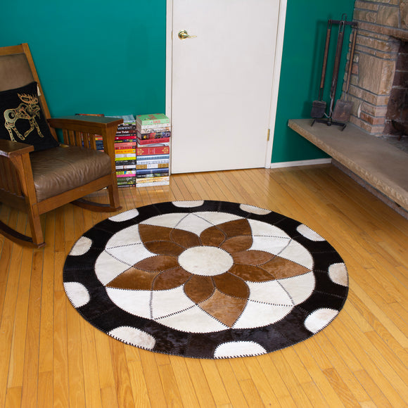 Forget-me-not Brown - Handmade Animal Hide Area Rug - 5' Round