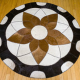 Forget-me-not Brown - Handmade Animal Hide Area Rug - 5' Round - The Loom