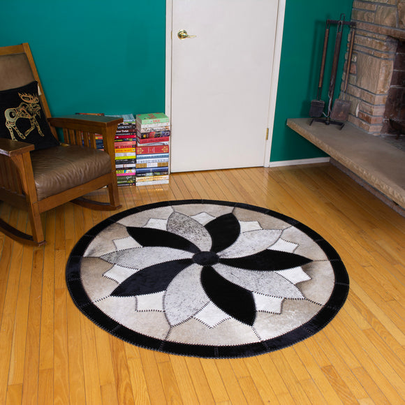 Windbreaker Black - Handmade Animal Hide Area Rug - 5' Round