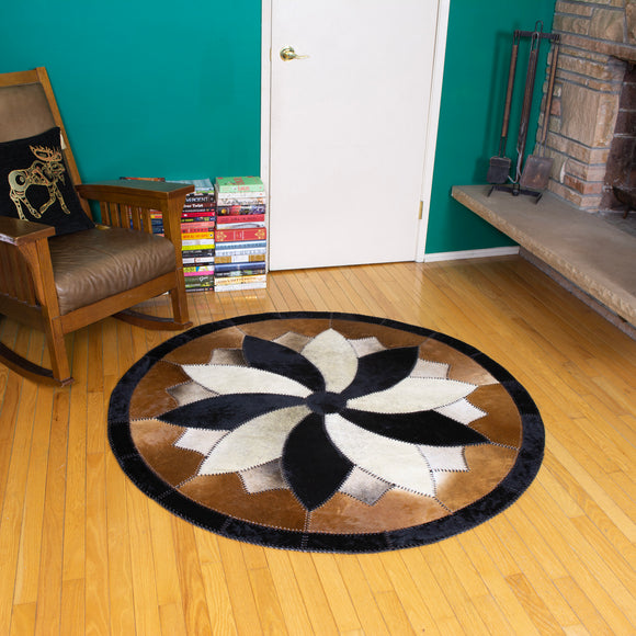 Windbreaker Brown - Handmade Animal Hide Area Rug - 5' Round
