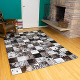 Patchwork Black - Handmade Animal Hide Area Rug - 5' x 8' - The Loom
