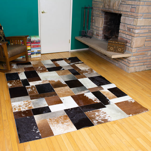 Patchwork - Handmade Animal Hide Area Rug - 5' x 8' - The Loom