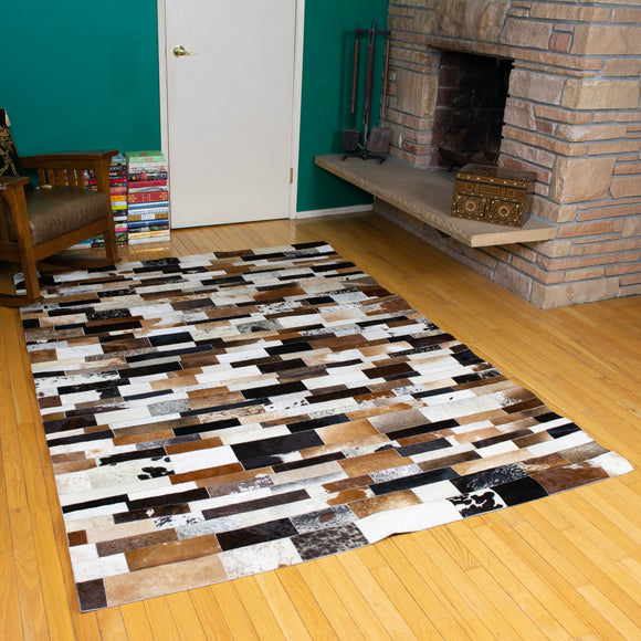 Patchwork Striped - Handmade Animal Hide Area Rug - 5' x 8'