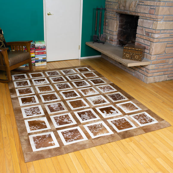 Portrait Brwon - Handmade Animal Hide Area Rug - 5' x 8' - The Loom