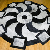 Propeller Black - Handmade Animal Hide Area Rug - 6' Round