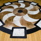 Propeller Brown - Handmade Animal Hide Area Rug - 6' Round - The Loom