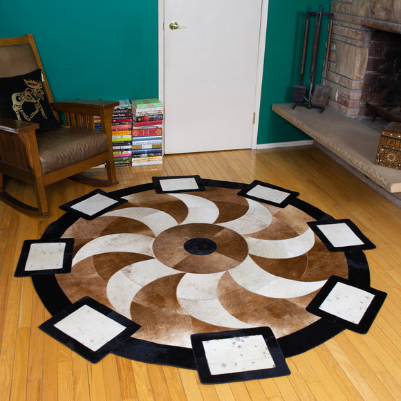 Propeller Brown - Handmade Animal Hide Area Rug - 6' Round