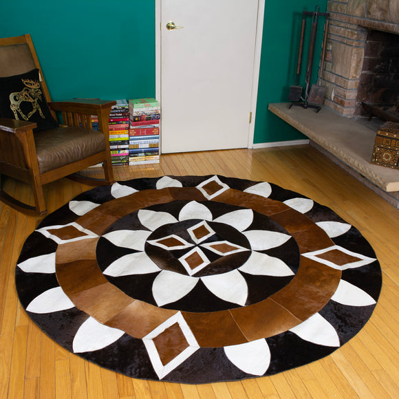Diamond Sun - Handmade Animal Hide Area Rug - 6' Round - The Loom