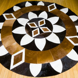 Diamond Sun - Handmade Animal Hide Area Rug - 6' Round