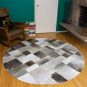 Patchwork Gray - Handmade Animal Hide Area Rug - 6' Round - The Loom