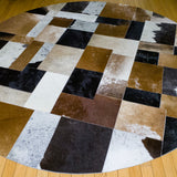 Patchwork - Handmade Animal Hide Area Rug - 6' Round - The Loom