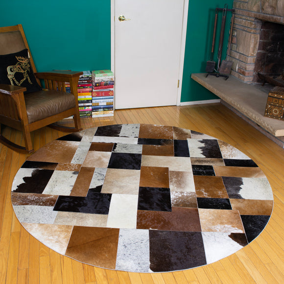 Patchwork - Handmade Animal Hide Area Rug - 6' Round