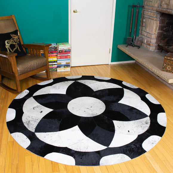 Forget-me-not Black - Handmade Animal Hide Area Rug - 6' Round