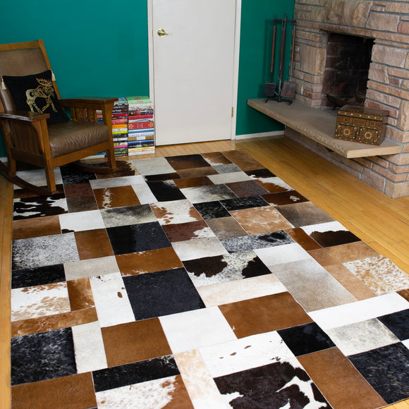 Patchwork - Handmade Animal Hide Area Rug - 6' x 9'